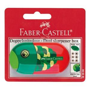 Šiljilo pvc s kutijom Riba/Papiga Faber Castell 183595 crveno/zeleno blister