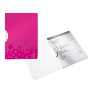 Fascikl klip pp A4 Wow Leitz 41850023 rozi