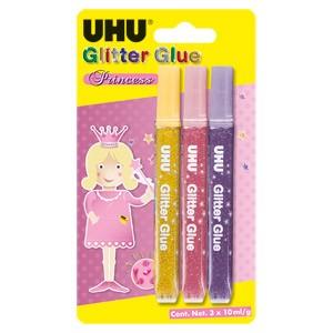 Ljepilo glitter glue 10g x 3boje UHU L0180780 Princess sortirano blister