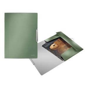 Fascikl klapa s gumicom pp A4 Style Leitz 39770053 metalik zeleni