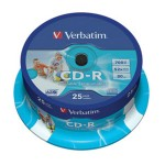 CD-R 700/80 52x spindl AZO printable pk25 Verbatim 43439