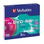 DVD-RW 4,7/120 4x slim pk5 Verbatim 43563 sortirano