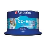 CD-R 700/80 52x spindl AZO printable pk50 Verbatim 43438