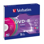 DVD+R 4,7/120 16x slim pk5 Verbatim 43556 sortirano