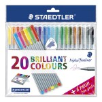 Flomaster fineliner triplus pk20 Staedtler 334SSB20P2 + neon 344 žuti, narančasti, zeleni, rozi, crveni i plavi GRATIS